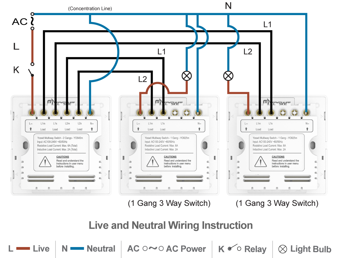 Smart 3-Way Switch - Socket 86 - 2 Gang - Smart Home - Yoswit.com 3 gang 2 way switch wiring diagram uk Smart Light Switch