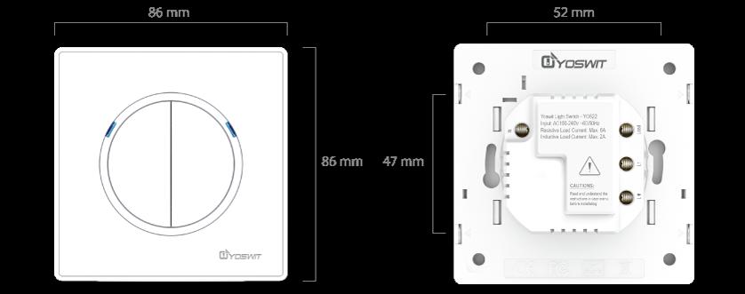 smart light switch - socket 55 - 2 gang