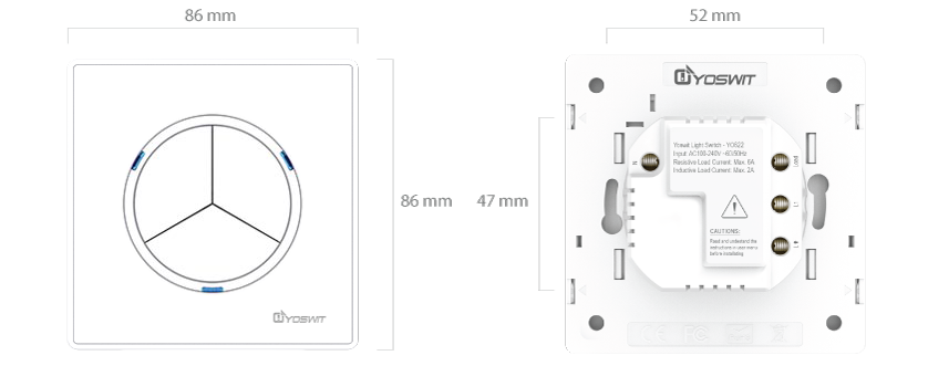 smart light switch - socket 55 - 3 gang